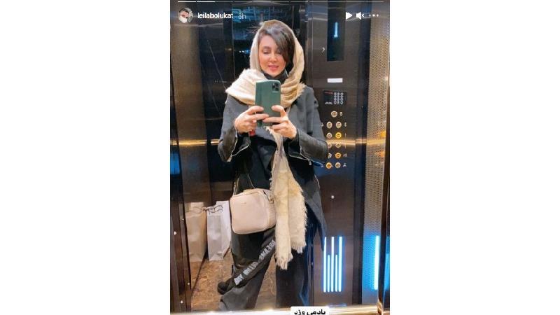 سلفی های جالب لیلا بلوکات از خودش در آسانسور